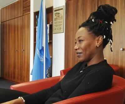 Fatoumata Diawara visiting the UNCCD secretariat